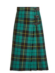Gucci Tartan Wool Skirt Green Multi