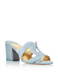 Isa Tapia Women's Amor Suede Heart Cutout Slide Sandals Palace Blue