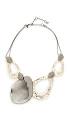 Alexis Bittar Crystal Accent Bib Necklace Gold Clear Black