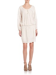 Vince Laser Cut Drop Waist Mini Dress Off White