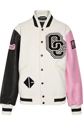 Opening Ceremony Appliqued Wool Blend Twill And Leather Bomber Jacket Cream