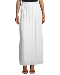 Joan Vass Long Pleated Skirt White Petite