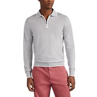 Luciano Barbera Zip Front Wool Long Sleeve Polo Shirt Gray