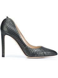 Chloe Gosselin Snakeskin Pumps Green