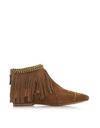 Jerome Dreyfuss Francoise Date Suede Low Boot W Fringe Brown