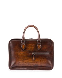 Berluti Scritto Mini Leather Briefcase Brown
