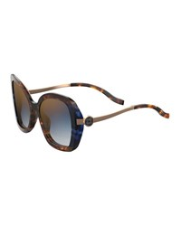 Elie Saab Square Acetate Sunglasses Havana Blue