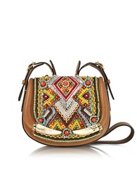 Roberto Cavalli Horn And Beads Embroidery Leather Shoulder Bag Brown