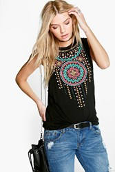 Boohoo Aztec Print Drop Arm Vest Black