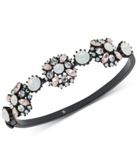 Marchesa Black Tone Multi Stone Bangle Bracelet