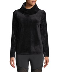 Marc New York Cowl Neck Velvet Sweater Black