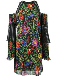 3.1 Phillip Lim Floral Printed Off Shoulder Dress Black