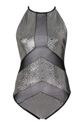 Holographic Mesh Insert Swimsuit By Jaded London Black