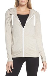 Zella Well Played Zip Fleece Hoodie Grey Crystal Heather