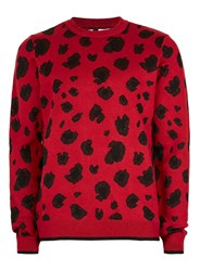 Topman Metallic Red And Black Leopard Print Sweater