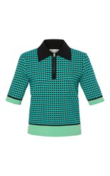 Diane Von Furstenberg Short Sleeve Collared Knit Shirt Multi