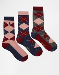 Penguin 3 Pack Ladies Socks In Argyle Multi