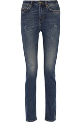 Mih Jeans Daily Distressed Mid Rise Straight Leg Jeans Blue