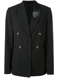 Brunello Cucinelli Pinstripe Double Breasted Blazer Women Linen Flax Virgin Wool 44 Black