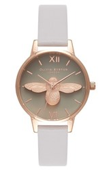 Olivia Burton Women's Molded Bee Leather Strap Watch 30Mm