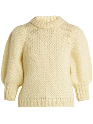 Ganni Julliard Puff Sleeve Mohair And Wool Blend Sweater Yellow