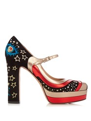 Valentino Astrocouture Suede Mary Jane Shoes Black Multi