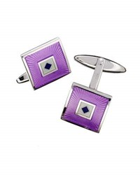 Jan Leslie Square And Diamond Enamel Cuff Links Lavender Gray