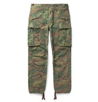 Rrl Slim Fit Tapered Camouflage Print Cotton Ripstop Cargo Trousers Green