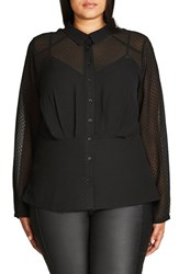 City Chic Plus Size Women's Snakeskin Textured Chiffon Shirt
