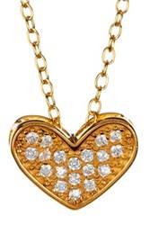 Argentovivo 18K Gold Plated Sterling Silver Pave Cz Wide Heart Pendant Necklace Metallic