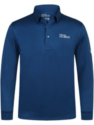 Oscar Jacobson Hubert Tour Long Sleeve Polo Mid Blue