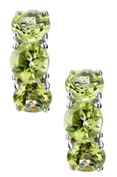 Sterling Silver Triple Stone Peridot Earrings Green