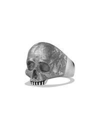 Skull Ring With Carved Meteorite David Yurman