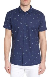 Kahala Hale Niu Trim Fit Linen Blend Camp Shirt Navy
