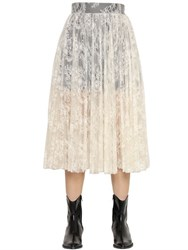 Philosophy Di Lorenzo Serafini Plisse Lace Skirt With Contrast Lining