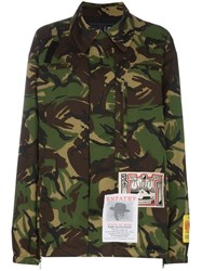 Martine Rose Camouflage Print Jacket With Embroidered Patches Green