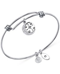 Unwritten Journey Compass Charm And Crystal 8Mm Bangle Bracelet In Stainless Steel