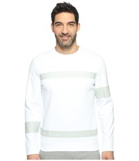 Calvin Klein Solid Ponte Printed Pullover White Combo Men's Long Sleeve Pullover
