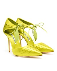 Manolo Blahnik Reya Satin Pumps Lime Green