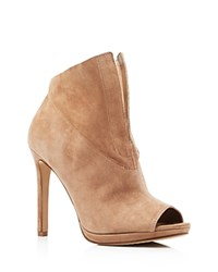 Vince Camuto Rora Peep Toe High Heel Booties Amendoa Tan