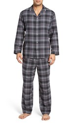Nordstrom Men's Men's Shop '824' Flannel Pajama Set Charcoal Black Plaid