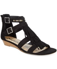 American Rag Leah Demi Wedge Fringe Gladiator Sandals Only At Macy's Women's Shoes Black