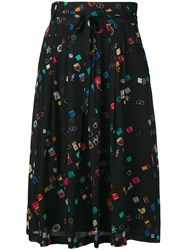 Paul Smith Ps By Colour Block Flared Skirt Black