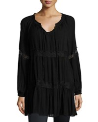 Neiman Marcus Long Sleeve Split Neck Blouse Black