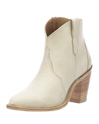 Lucchese Gigi Western Leather Booties Beige