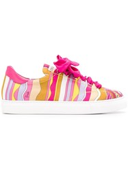 Emilio Pucci Lace Up Printed Sneakers Pink