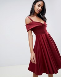 Club L Bardot Scuba Skater Dress With Double Strap Red