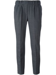 Brunello Cucinelli Pleated Cropped Trousers Grey