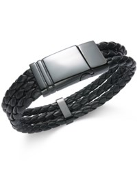 Sutton By Rhona Sutton Men's Black Stainless Steel Triple Row Braided Leather Bracelet