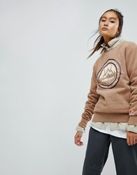 Ellesse Oversized Sweatshirt With Apres Ski Logo Tan